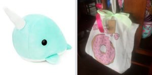 Narwhal Stuffed Toy from the net & Loot bags from Typo (wisma atria)